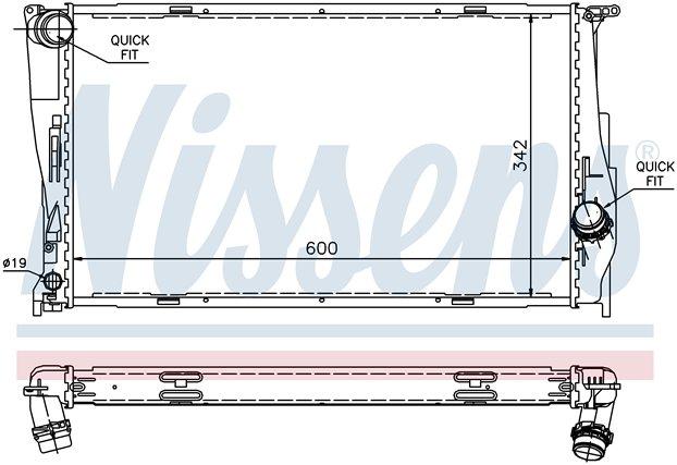 Схема радиатора на BMW E90 СЕДАН/E91 УНИВЕРСАЛ (04-)
